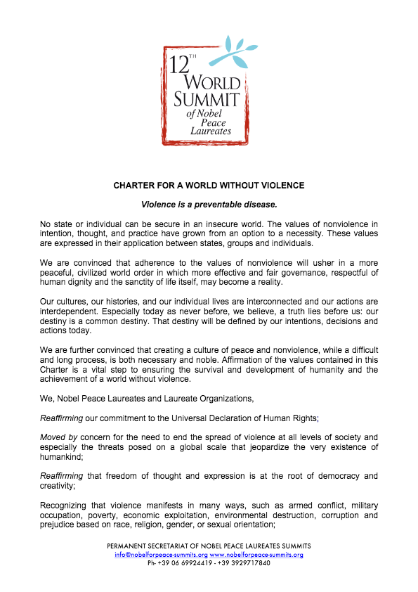 Charter For A World Without Violence