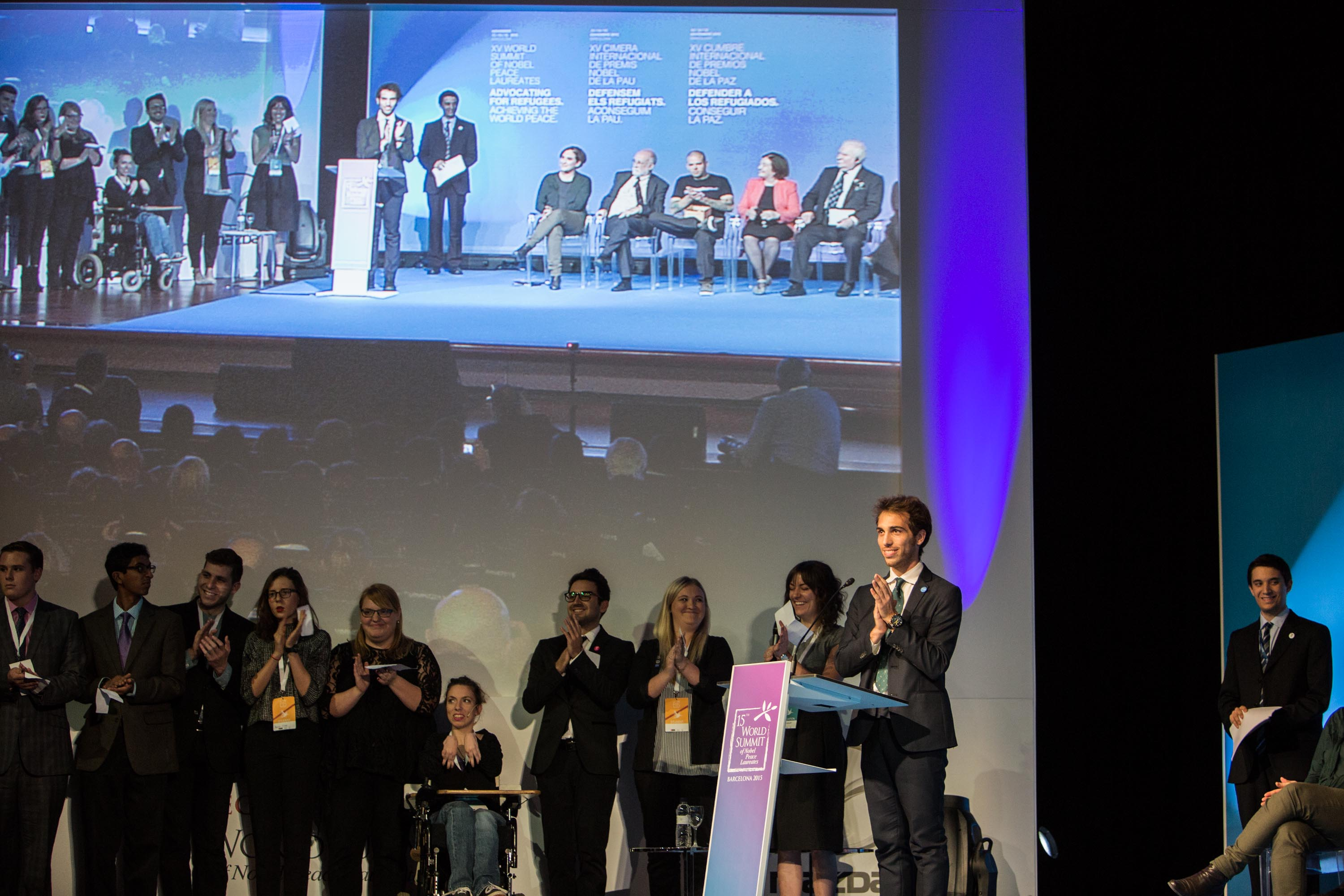 YOUTH delegates reading the Barcelona YOUth Final Statement to the Laureates