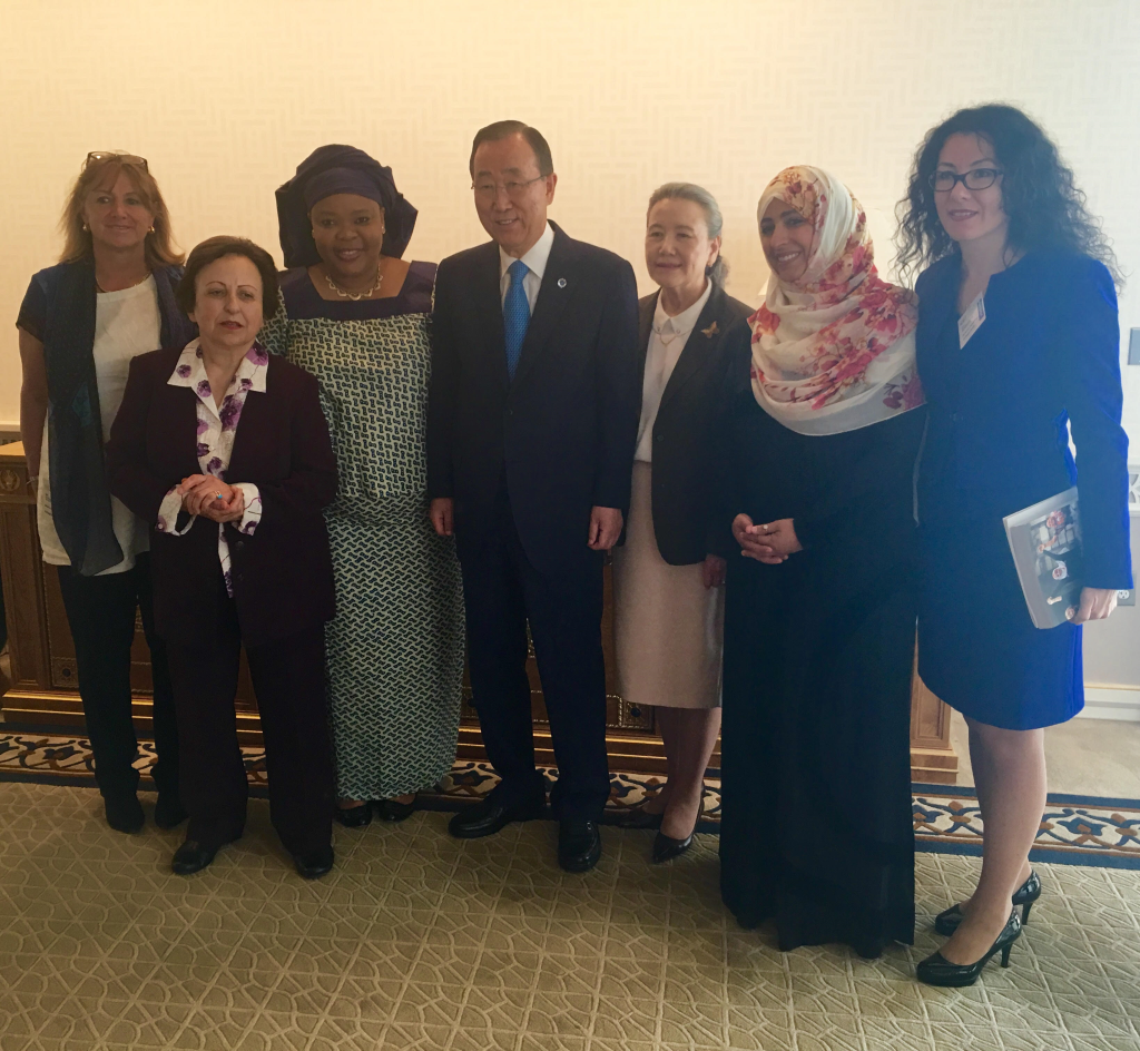 Monica Greiff, President of the Chamber of Commerce of Bogotà, - Shirin Ebadi, Nobel Peace Laureate - Leymah Gbowee, Nobel Peace Laureate - Ban Ki-moon, UN Secretary-General and Yoo Soon-taek - Tawakkol Karman, Nobel Peace Laureate - Ekaterina Zagladina, President of the Permanent Secretariat